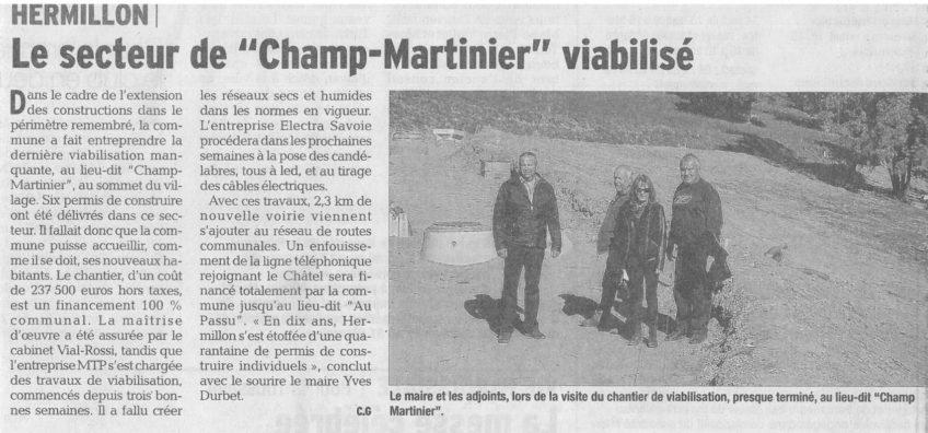 HERMILLON – Viabilisation du secteur de Champ-Martinier
