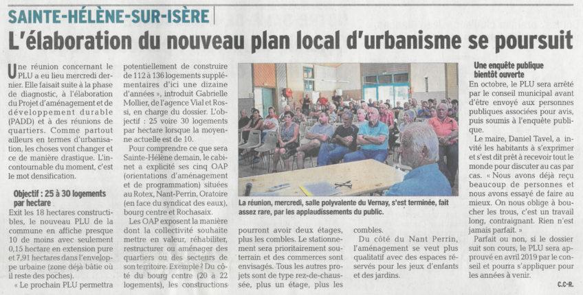 SAINTE-HELENE-SUR-ISERE – Réunion de concertation sur l'élaboration du PLU