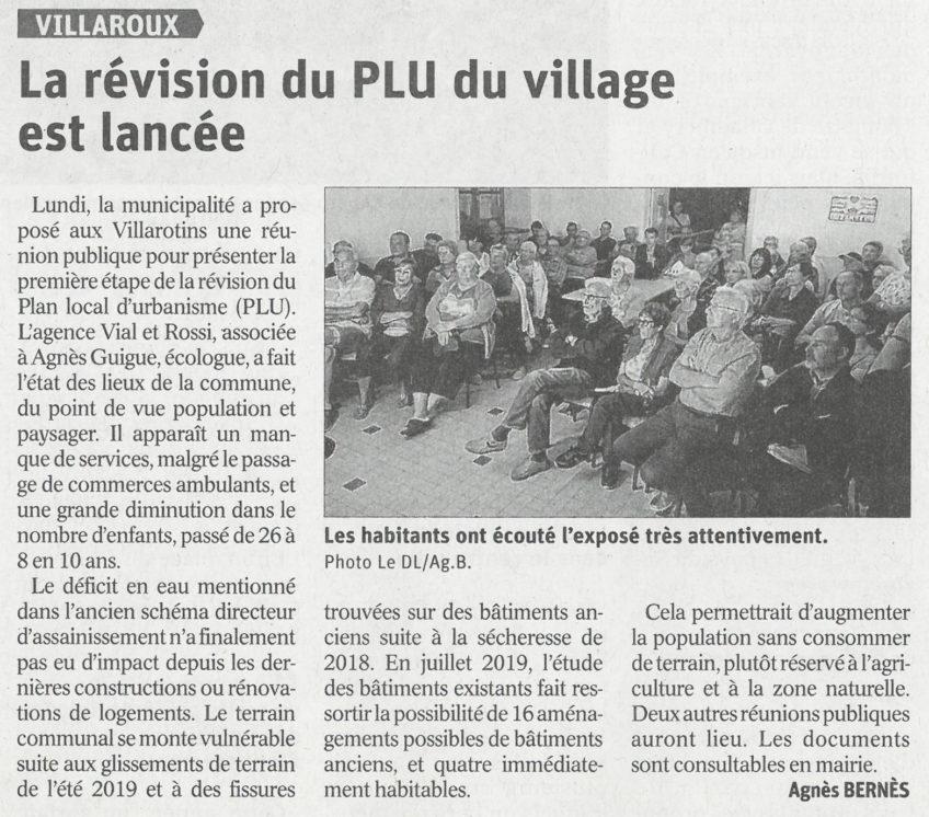 VILLAROUX – Réunion de concertation n°1 sur la révision générale du PLU